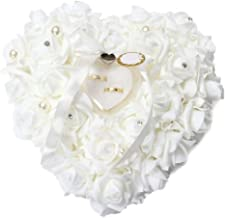 Velidy Romantic White Wedding Ring Pillow Heart Box with Ribbon Pearl Rose Wedding Ceremony for Wedding Supplies Gift