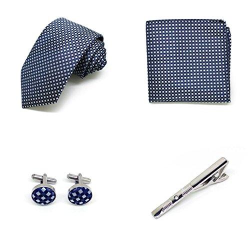 S.R HOME Coffret Cadeau Ensemble Cravate homme, Mouchoir de poche, épingle et boutons de manchette Gris a point