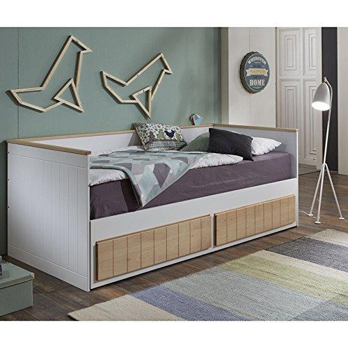 Lomado Funktionsbett ausziehbar mit 2 Schubkästen ● MDF Buche & weiß lackiert ● Liegefläche 90x200cm & 180x200cm ● Einzelbett Doppelbett Gästebett