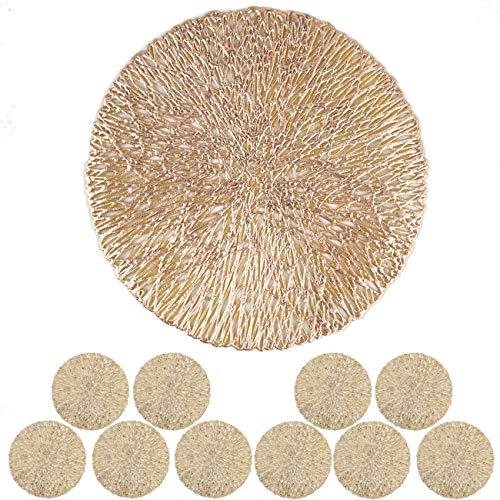 MANGATA Untersetzer Gold Rund 10er Sets, Hitzebeständig Glasuntersetzer für Bar Glas, Tassen, Vasen, Kerzen, Schüsseln (10cm, Gold)