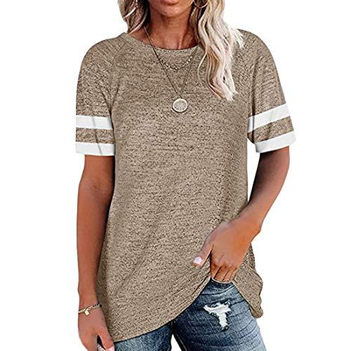 Camisetas de béisbol de Manga Corta de Verano para Mujer con Bolsillo Camisetas Jersey de algodón Otoño Casual Camisetas holgadas Cuello Redondo Manga a Rayas Tops de Verano Camiseta Informal