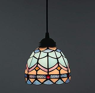 Tiffany Vintage Style Lampe suspendue Lampe suspendue en verre teinté plafond Suspension abat-jour Lumière d'éclairage pou...