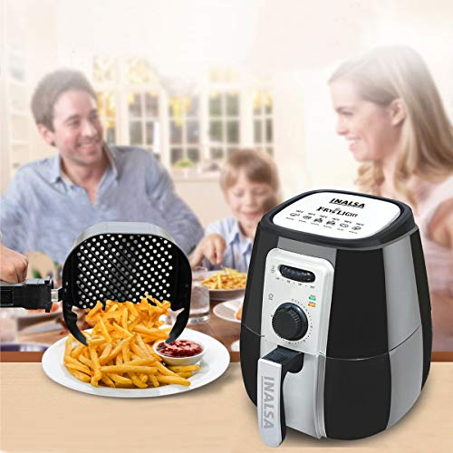 Inalsa Air Fryer Fry-Light-1400W with 4.2L Cooking Pan Capacity, Timer Selection and Fully Adjustable Temperature Control, (Black/Grey)