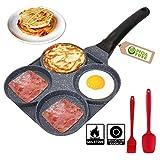 4 Cup Egg Frying Pan - Non Stick Egg Pans Divided Egg Cooker Frying Pan - Aluminium Alloy Fried Egg...