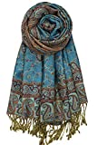 Achillea Soft Silky Reversible Paisley Pashmina Shawl Wrap Scarf w/Fringes (Teal)