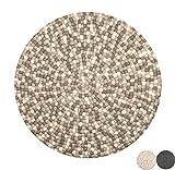 Nimara Isla Teppich rund   Filzkugelteppich aus 100% Wolle   Runder Teppich Ø 160 cm und Ø 90 cm   Wohnzimmerteppich, Kinderzimmerteppich aus Filzkugeln   Runde Teppiche (Braun/Weiß/Grau, 90)