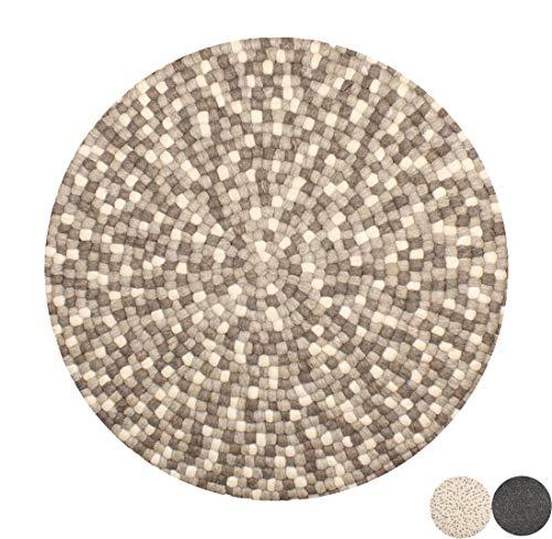 Alfombra Redonda de Fieltro Nimara Isla de 100% Lana. Alfombra Redonda de 160 cm de diámetro y 90 cm de diámetro. Alfombra de salón para habitación Infantil de Bolas de Fieltro.