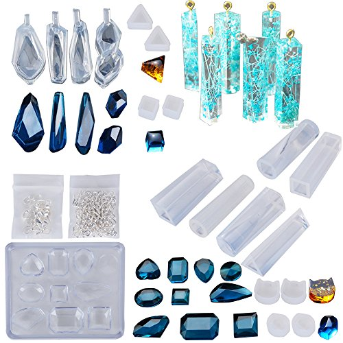 Silikonform Gießformen Set für Resin Schmuck, Halsketten-Anhänger und Ohrringe