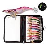 GORIX ゴリックス タコエギ 10本セット 3.5号(GLURE-TAKO) ケース付き・カラナビ・夜光・タコ釣り・イカ釣り・蛸仕掛け・釣り・釣り具・エギ