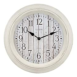 Lacrosse 404-3036BW 14 Inch White Barn Wood Quartz Wall Clock