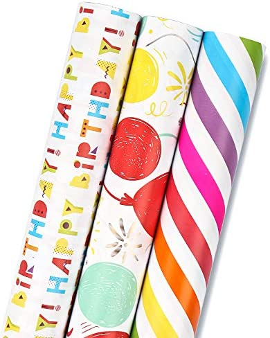 MAYPLUSS Wrapping Paper Roll Mini Roll 17 3 inch X 120 inch Per roll 3 Different Birthday Print product image