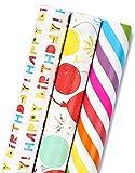 MAYPLUSS Wrapping Paper Roll - Mini Roll - 17.3 inch X 120 inch Per roll - 3 Different BirthdayPrint Design (43.2 sq.ft.TTL)