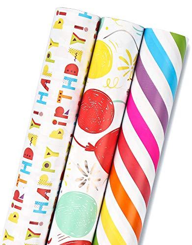 MAYPLUSS Wrapping Paper Roll - Mini Roll - 17 inch X 120 inch Per roll - 3 Different BirthdayPrint Design (42.3 sq.ft.ttl.)