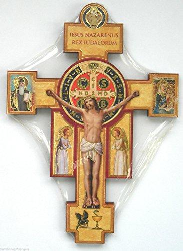 rosarybeads4u Olive Wood Bethlehem 3 St Saint Benedict Crucifix Cross Wall Hanging or Pendant