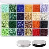 Mini cuentas de vidrio, utilizadas para hacer collares y pulseras y pendientes, pulseras, joyas, regalos, manualidades, niños y adultos (14400 piezas)