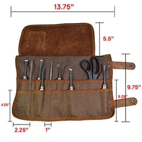 Waxed Canvas Wrench//Tool Roll 11 Pockets Hanging Storage for Craftsmen Handmade by Hide /& Drink Honey Bourbon