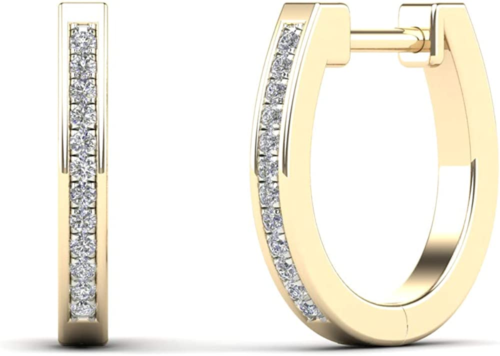 JewelAngel 14K Yellow Gold Diamond Accent U-Hoop Earrings (H-I, I1-I2)