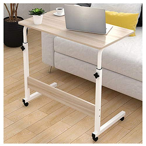 Side Table Laptop Cart Rolling Desk Mobile Stand Portable Caster Cart Bed Side Overbed Table for Small Space Computer Office (Color : Maple)