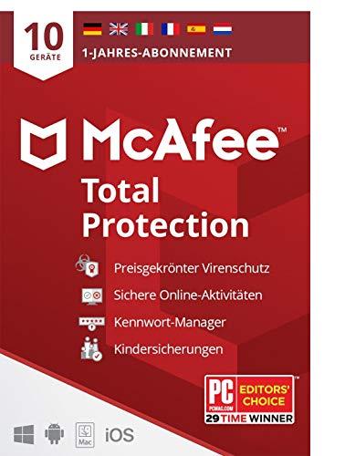 McAfee Total Protection 2021 | 10 Geräte | 1 Jahr| Antivirus Software, Virenschutz-Programm, Passwort Manager, Mobile Security, Elterliche Kontrolle | PC/Mac/Android/iOS |Europäische Ausgabe| Per Post