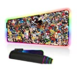 Imegny RGB Mouse Pad, Led Gaming Mouse Pad Oversized Glowing Mat Colorful Soft Mat for Mice Computer Keyboard with Non-Slip Rubber Base Water-Resistant (90x40 rgdajihe003)
