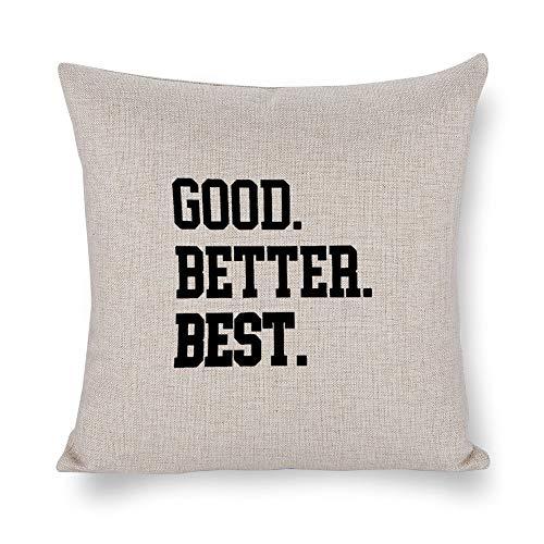 "Free brand Farmhouse Decorative Throw Pillow Covers Good. Better. Best Home Décor Cotton Linen Cushion Cover Pillowcase Sofa 18""x 18"""