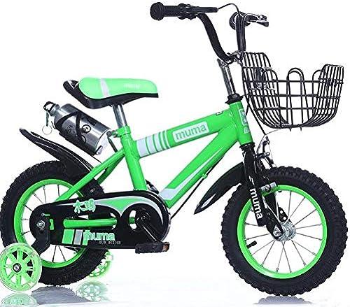 FAMILI DA Kinderwagen Freestyle Kids Bike Jungen und mädchen fürrad mit Trainingsr rn Kinder 12-14-16-18 Zoll Für Neugeborene (Farbe   Gelb, Größe   14 inch)-Grün,12 inch