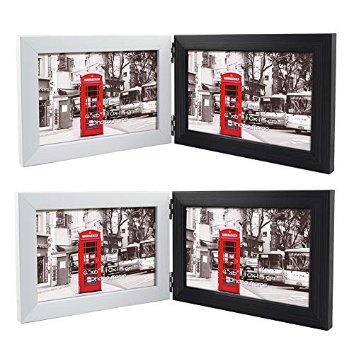 Schliersee 4x6 Picture Frame Double Hinged Sided 4 by 6 Photo Frame Standing Horizontally on Tabletop Desk Side by Side 2 Packs (Black and White Frame)
