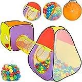 Spielwerk Bällebad Spielzelt 3-teiliges XL Spielhaus Pop Up Funktion inkl. 200 Bälle Tragetasche...