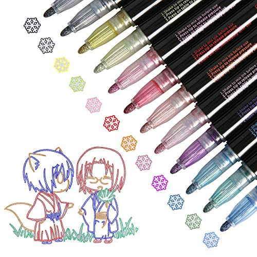 Super Squiggles Outline Markers-12 Colors Super Squiggles Shimmer Markers,Outline Markers Double Line Pen,Outline Markers Self-Outline Metallic Markers