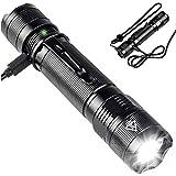 Lampe Torche LED Puissante, USB Rechargeable Militaire Ultra-Brillante IP67Etanche Torche, La puce LED CREE XPG2 S3 800 lumens 5 Modes d'éclairage, Pour Ménage/le Camping/La Randonnée/D'urgence