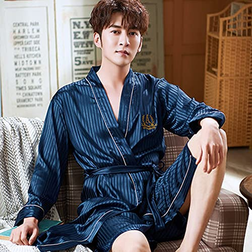 DEWUFAFA Camisón de satén para Hombre Ligero de Manga Larga Kimono de Seda de Seda con Shorts Set Pijama (Color : D, Size : XX-Large)