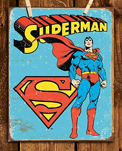 "Superman Vintage Sign Print- 8 x 10""- Wall Art Prints-Ready To Frame- Distressed Retro Replica Print. Perfect Dcor for Home- Bar- Dorm- Bedroom- Man Cave. Must Have For All Super Fans & Collectors."