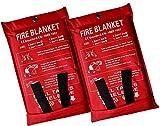 Coperta antincendio di emergenza 2 x 2 m, coperta antincendio di emergenza, coperta ignifuga, copertura di sicurezza per cucina, camino, auto, ufficio, magazzino (2 x 2 m)