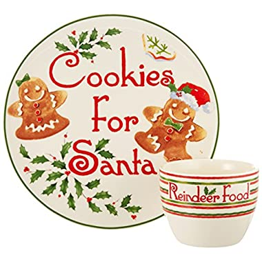 Lenox 2 Piece Countdown to Christmas for Santa Cookie Plate and Bowl Set, Ivory