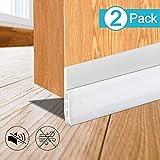 Boncaca 2 Pack Door Draft Stopper, Door Sweep, Weather Stripping for Doors, Under Door Draft Blocker, 39' L, White