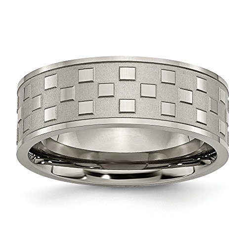 ICE CARATS Titanium Checkered 8mm Wedding Ring Band Size 13.50 Fancy Fashion Jewellery for Women Gifts for Her