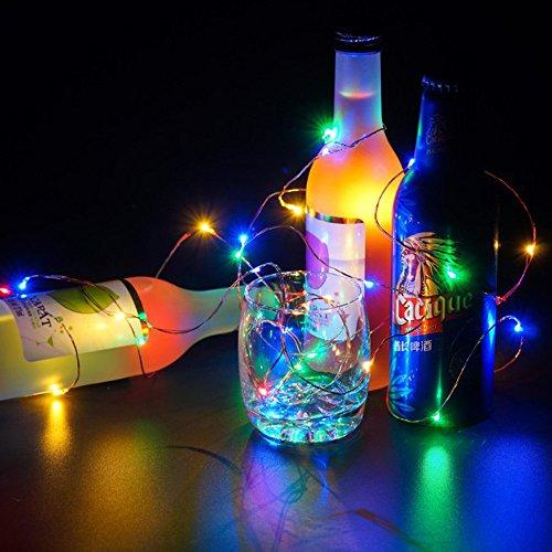 FeiliandaJJ Silber Kupferdraht Mini Flexibler Lichterkette 10LED LED-Licht für Weihnachten Party Innen Haus Deko String Lights Batterie Angetrieben (Mehrfarbig)
