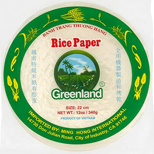 Rice Paper Spring Roll Wrappers - 22cm Round Rice Paper Wrappers for Spring Rolls - Premium Spring Roll Rice Paper Wrappers - Easy to Use Fast Moisten - Banh Trang Rice Wrappers for Spring Rolls