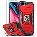 LeYi Compatible with iPhone 8 Plus Case, iPhone 7 Plus Case, iPhone 6s/6 Plus Case with 2 Tempered Glass Screen Protector, [Military-Grade] Phone Cover Case with Ring Kickstand for iPhone 6s Plus, Red