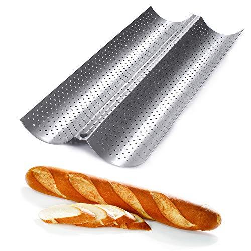 Sziqiqi Antihaft-Perforierte Baguette-Pfannen Französische Brotpfanne für Brot Proofing und Backen, Brotbackform 2-Loaf silber