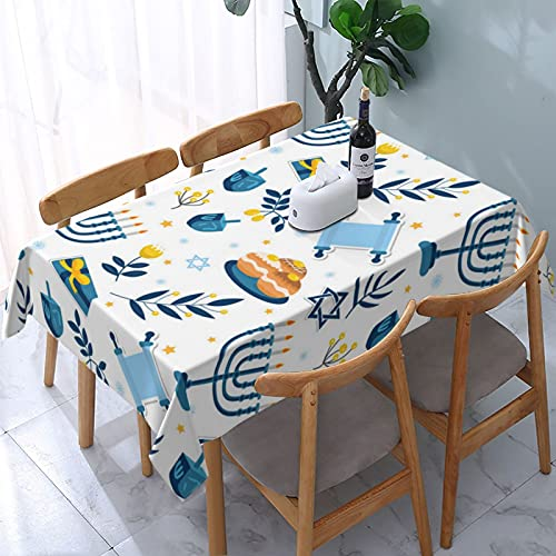 Happy Hanukkah Seamless Pattern Hanukkah Jewish Tablecloth, Oil-Proof/Waterproof/Wrinkle Free/Stain Resistant Polyester Tablecloth for Kitchen Room, Rectangle Tabletop Decoration Washable Tablecloth