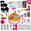 360 Pcs Cake Decorating Supplies Kit with Baking supplies- Spring form Pan Set -Cake Turntable stand-55 Numbered Piping Tips & Bags 7 Russian tips Icing Spatulas Fondant tools Measuring cups & Spoons