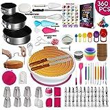 360 Pcs Cake Decorating Supplies Kit with Baking supplies- Springform Pan Set -Cake Turntable...