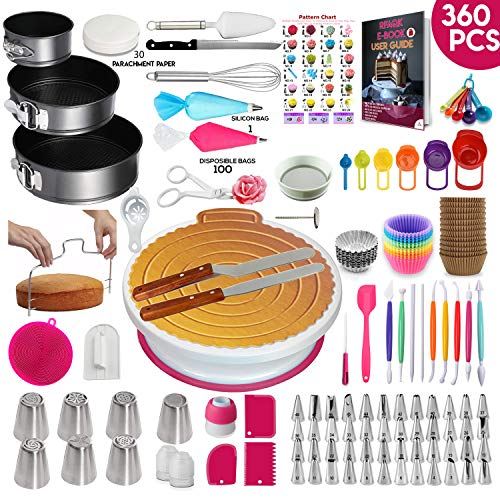 360 Pcs Cake Decorating Supplies Kit with Baking supplies- Springform Pan Set -Cake Turntable stand-55 Numbered Piping Tips & Bags 7 Russian tips Icing Spatulas Fondant tools Measuring cups & Spoons