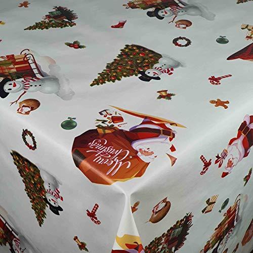 Wachstuch Wachstischdecke Tischdecke Gartentischdecke Weihnachten Zuckerstange Weiß Breite & Länge wählbar 130 x 160 cm Eckig abwaschbar