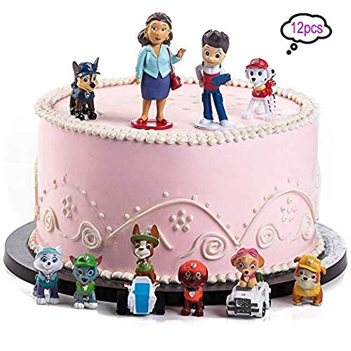 SHANFAA 12 Stück Paw Dog Patrol Mini Figuren Set, Geburtstags Party liefert Cupcake Figuren, Party Kuchen Dekoration Lieferungen, Cake Topper