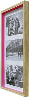Painel Color Wood Para 3 Fotos 10X15cm Kapos Natural/Rosa