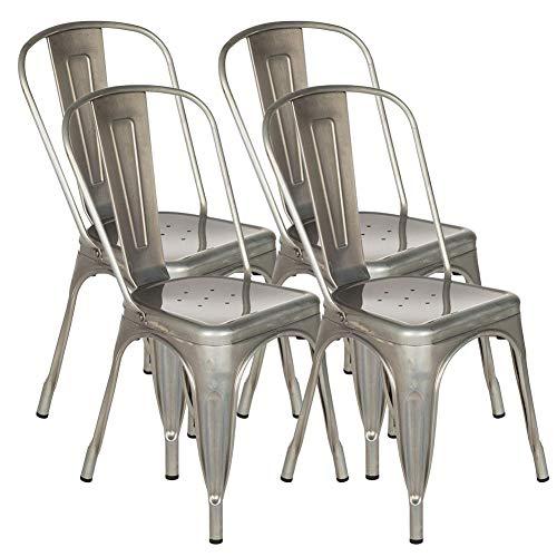 FANGYU Chair 4 chaises empilables de Style Antique empilables Chaise de kichen de Chaise en métal