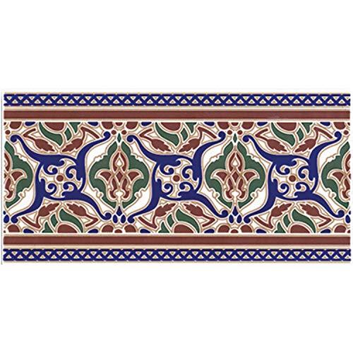 Casa Moro Cenefa de azulejos orientales Layali, 28 x 14 cm, rectangular, borde marroquí, bonito azulejos de pared para cocina, baño, salón y cocina | FL2009