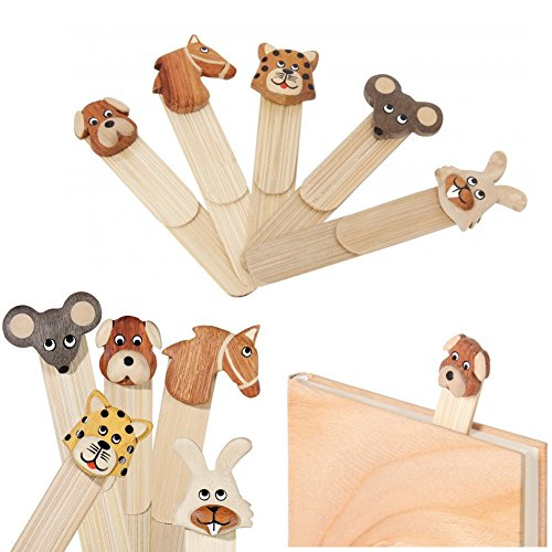 ootb Un segnalibro di Legno, Animale - Bookmarking - Animale Casuale: Cane, Cavallo, Tigre, Gatto, Mouse, Coniglio